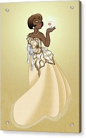 Blow A Kiss- Gold Version Acrylic Print by Rachel Marquez