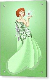 Blow A Kiss- Green Version Acrylic Print by Rachel Marquez