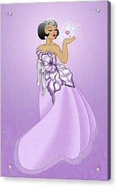 Blow A Kiss- Purple Version Acrylic Print by Rachel Marquez