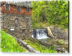 Blow Me Down Mill Cornish New Hampshire Pencil Acrylic Print by Edward Fielding