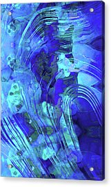Acrylic Print featuring the painting Blue Abstract Art - Reflections - Sharon Cummings by Sharon Cummings