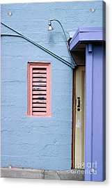 blue abstract building photography - The Blue Wall Acrylic Print