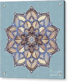 Blue And White Mandala Acrylic Print