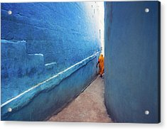 Blue Alleyway Acrylic Print by Marji Lang