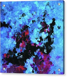Acrylic Print featuring the painting Blue And Black Abstract Wall Art by Ayse Deniz