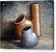 Blue And Brown Pots Acrylic Print by Roena King