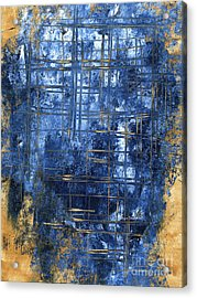 Blue And Gold A Stunning Dramatic Abstract Original Painting Contemporary Art By Megan Duncanson Acrylic Print