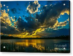 Blue And Gold Sunset With Rays Acrylic Print