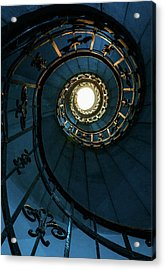 Acrylic Print featuring the photograph Blue And Golden Spiral Staircase by Jaroslaw Blaminsky