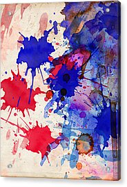 Blue And Red Color Splash Acrylic Print