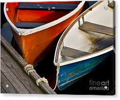 Blue And Red Dinghies Acrylic Print by Jerry Fornarotto
