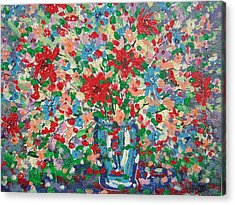 Blue And Red Flowers. Acrylic Print