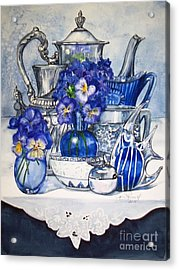 Blue And Silver Acrylic Print