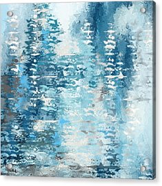 Blue And White Abstract Acrylic Print by Lourry Legarde
