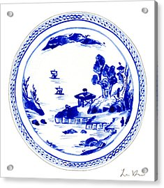 Blue And White Chinese Chinoiserie Plate 2 Acrylic Print by Laura Row