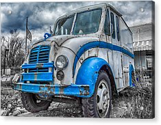 Blue And White Divco Acrylic Print by Guy Whiteley