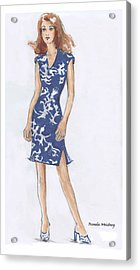 Blue And White Dress Illustration Acrylic Print