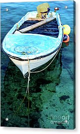 Blue And White Fishing Boat On The Adriatic - Rovinj, Croatia Acrylic Print