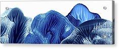 Blue And White Mountains Monoprint Panoramic1 Acrylic Print