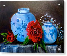 Blue And White Pottery And Red Roses Acrylic Print