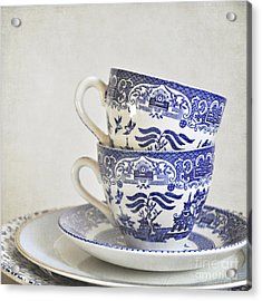 Blue And White Stacked China. Acrylic Print