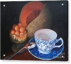 Blue And White Teacup And Melon Acrylic Print by Marlene Book