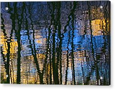 Blue And Yellow Abstract Reflections Acrylic Print by Pixie Copley