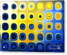 Blue And Yellow Circles  B Acrylic Print by Patty Vicknair