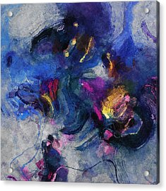 Acrylic Print featuring the painting Blue And Yellow Minimalist / Abstract Painting by Ayse Deniz