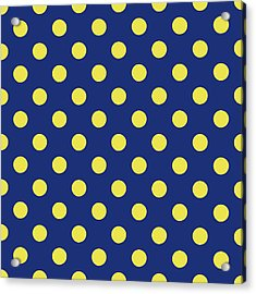 Blue And Yellow Polka Dots- Art By Linda Woods Acrylic Print by Linda Woods