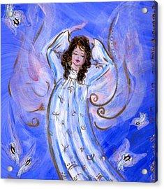 Blue Angel Waking Acrylic Print by Rosemary Babikan