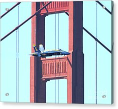 Blue Angels Crossing The Golden Gate Bridge 10 Acrylic Print by Wingsdomain Art and Photography