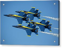 Acrylic Print featuring the photograph Blue Angels Diamond Formation by Adam Romanowicz