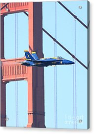 Blue Angels No.1 Crossing The Golden Gate Bridge Acrylic Print by Wingsdomain Art and Photography