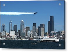 Blue Angels Over Seattle D028 Acrylic Print by Yoshiki Nakamura