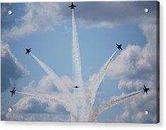 Blue Angels Perform A Breakaway Maneuver  Acrylic Print