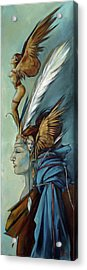 Blue Art Deco Indian Headdress Hood Ornamental Acrylic Print