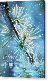 Blue Atlas Cedar Winter Holiday Card Acrylic Print