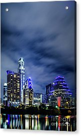Blue Austin Skyline At Night Acrylic Print by Paul Velgos