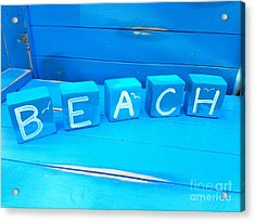 Blue Beach Blocks Acrylic Print