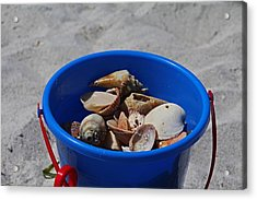 Acrylic Print featuring the photograph Blue Beach Bucket by Michiale Schneider