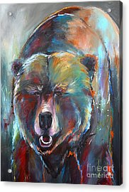 Acrylic Print featuring the painting Blue Bear by Cher Devereaux