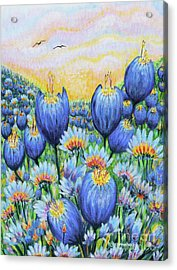 Acrylic Print featuring the painting Blue Belles by Holly Carmichael