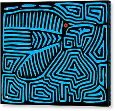 Acrylic Print featuring the digital art Blue Bird Mola by Vagabond Folk Art - Virginia Vivier