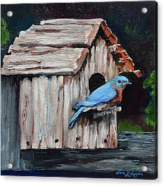 Acrylic Print featuring the painting Blue Bird On Lake Odom by Jan Dappen
