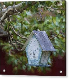 Blue Birdhouse Painterly Effect Acrylic Print