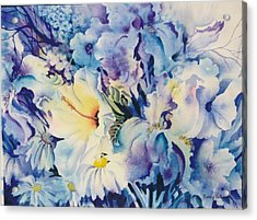 Blue-blossoms Acrylic Print by Nancy Newman