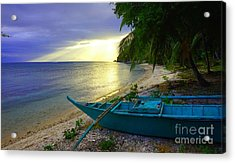 Blue Boat And Sunset On Beach Acrylic Print