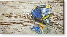 Blue Boat Acrylic Print by Marty Garland
