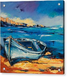 Blue Boat On The Mediterranean Beach Acrylic Print by Elise Palmigiani